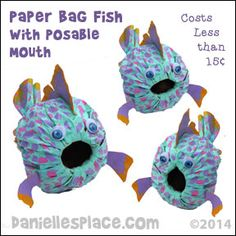 Paper Bag Fish Craft with Posable Mouth from www.daniellesplace.com ©2014. This craft would be great to use with the Pout-Pout fish books.