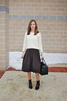 H&M crinkled midi skirt with a chunky knit sweater and ankle boots.