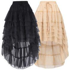 Belle Poque Custume Steampunk Vintage Multi Layered Chiffon Skirt Bustle Skirts