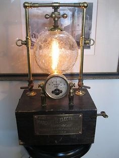 Steampunk Lamp Industrial Art Machine Age Salvage Steam Gauge Telsa Steam Punk