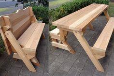 Easy picnic table bench plans pinterest picnic table bench one piece folding bench and picnic table plans downloadable pdf file watchthetrailerfo