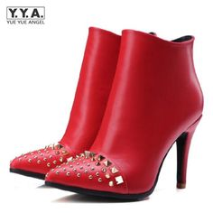 Euro Vogue Rivet Fashion Women Dress shoes Court Shoes Date Tourism Solid Side zipper Rivet Pointed Toe Spike Heel Red Black