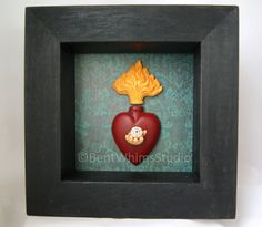 The Heart Sees mixed media assemblage art by Bent Whims Studio