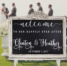 Wedding Welcome Decal for Sign Customized Personalized Wall Decal Vinyl Stickers Weddings Wedding Signs Chalkboard Mirrors rustic wooden Chalkboard Mirror, Small Chalkboard, Wedding Tips, Wedding Planning, Wedding Stuff, Wedding Hair, Bridal Hair, Wedding Dresses, Romantic Weddings