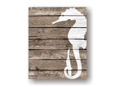 Seahorse Wall Decor Art Print - Rustic Nautical Wall decor, Faux Wood, Sea Life art, Beach Wall Art, Natutical Bathroom, Coastal Art