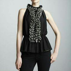 ☇Robert Rodriguez☇ Ruffled Blouse☇ Robert Rodriguez Ruffled Top Blouse Neiman Marcus for Target, tan and black. Robert Rodriguez Tops Blouses