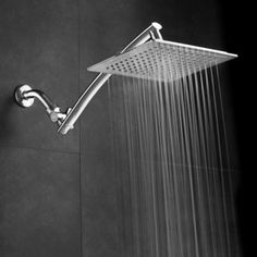 Aquagenix Razor Mega Size 9-inch Chrome Face Square Rainfall Shower w/ Arch Design and 15-inch Stainless Steel Extension Arm