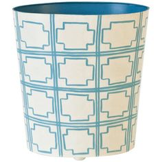 Worlds Away  Oval Wastebasket Turquoise And Cream