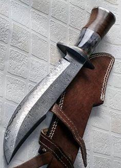 REG 49 - Handmade Damascus Steel 15.25 Inches Bowie Fixed Knife Blade - Solid Marindi WoodBone Handle