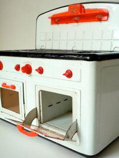 Vintage Toy Stove German Tin Fuchs Play Kitchen