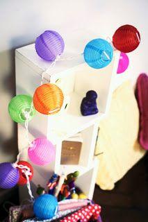 Faroles chinos de tela multicolores ♥