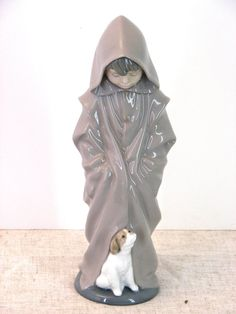 SALE NAO Lladro Young Boy With Dog 1982 by TheGlossedAndFound