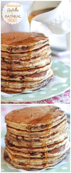 Banana Nutella and Oatmeal Pancakes! *Figure out how to make these with whole wheat flour.