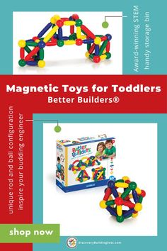 Discovery Building Sets offers Better Builders® open-ended STEM, magnetic toys for toddlers. Our magnetic building toys are designed to inspire your budding engineer. Explore the principles of magnetism, engineering, and construction. By adding magnets, these magnetic connector toys, give toddlers more options for successful building. Fascinate your toddler with a magical set of magnetic building toys. #DiscoveryBuildingSets #magneticblocks #magneticbuildingtoys #blocksfortoddlers Building Toys For Toddlers, Blocks For Toddlers, Learning Colors, Kids Learning, Magnets Science, Magnetic Toys, Wooden Building Blocks, Block Play, Interactive Toys