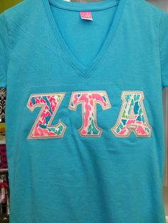 Vneck sorority letter shirt with new Lilly... Iota Sigma hosts a Lilly-esque Philanthropy party during FR... it is always a hit with PNMs.
