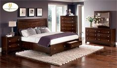 Lakeside Brown Cherry Platform Queen Bed w/ Drawers