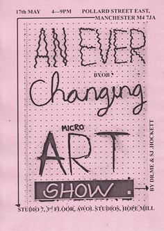 An Ever Changing Micro Art Show  Different variations of the micro poster we made with Steve Hockett for our 'An Ever Changing Micro Art Show' which will be held on the wall just outside of our studio during the open studios that Hope Mill is holding.