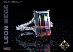 Couture solitaire featuring a bi-color 7.00 carat tourmaline with micro pave by Leon Megé