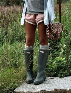 Lace trimmed shirts with an oversized cardigan and hunter boots and socks for late summer or early fall