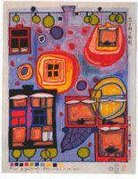 Undertwasser - le Droit de fenêtre, gravure sur bois japonaise,1988