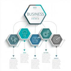 vector illustration infographic template with hexagons paper label business template for presentation. creative concept for infographic diagram flowchart workflow layout content steps chart. Web Design Trends, App Design, Poster Design, Graphic Design, Web Minimalista, Maquette Site Web, Intranet Design, Flow Chart Design, Powerpoint Design Templates