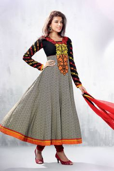 Grey Color long anarkali salwar kameez