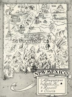 ~Vintage New Mexico Map~