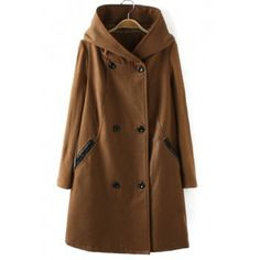 Simple Hooded Neck Double-Breasted Splicing Design Long Sleeves Slimming Women's Overcoat, COFFEE, S in Jackets & Coats | DressLily.com