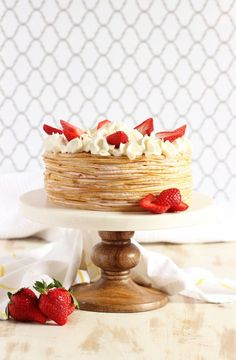 No baking required to make this stunning Strawberry Crepe Cake recipe. The perfect dessert for springtime! Strawberry Crepe Cake Recipe, Strawberry Crepes, Waffles, Chocolate Crepes, Blueberry Topping, Lemon Curd Recipe, Spring Cake, Decadent Cakes, Crepe Recipes