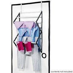 Whether you live in an apartment, small home or just need more room to hang your laundry, this is a great space-saving solution for drying your clothes. It's also the perfect way to conserve energy. Hang-dry your clothes in tight spaces. This clothes drying rack fits over a door so it's great in the laundry room, over a closet door or behind the bathroom door for towels or bathing suits! Made of sturdy metal and plastic, this rack measures 36 x 43 cm