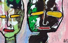 Original LABEDZKI Abstract Painting Outsider Art Lonely People 5 5x8 5 Inch   eBay