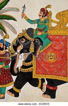 Colorful Mughal painting on maharaja's City Palace, Udaipur, Rajasthan, India - Stock Image Rajasthani Painting, Rajasthani Art, Indian Artwork, Indian Folk Art, Mughal Paintings, Indian Art Paintings, Madhubani Art, Madhubani Painting, Painted Indian Elephant
