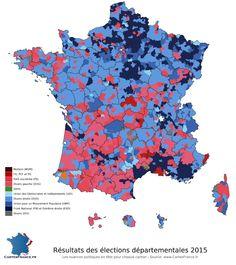 Carte des résultats du premier tour des élections départementales 2015