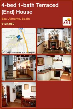 4-bed 1-bath Terraced (End) House in Sax, Alicante, Spain ►€124,950 #PropertyForSaleInSpain