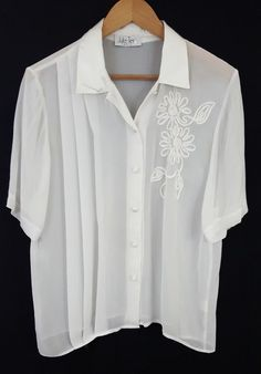 f7ba30f997 Details about Julie Tess Paris Women s Shirt Sz Large Sheer White Floral  Embroidery Top