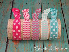 Hey, I found this really awesome Etsy listing at http://www.etsy.com/listing/156602948/pink-aqua-hair-ties-ponytail-holders-5pc