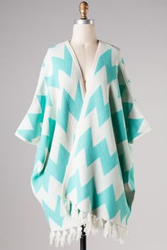 Mint  Chevron Poncho Cardigan #cute #chevron #hando