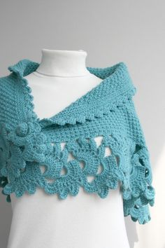 Hand Knitted Turquoise Capelet / Shawl / Handmade / Gift for her / Christmas gift Crochet Scarves, Crochet Shawl, Crochet Clothes, Knit Crochet, Knitted Capelet, Hand Knitting, Knitting Patterns, Crochet Patterns, Crochet Crafts