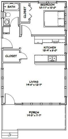 20x32 Tiny House -- #20X32H4E -- 640 sq ft - Excellent Floor Plans // jos tästä tekis takaosalta 1,5- tai 2-kerroksisen, niin sais kätevästi toisen makkarin
