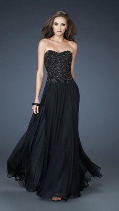 La Femme - 18199 Embellished Sweetheart Long Dress. Černé Šaty Na Školní  PlesSpolečenské ... fdcc47102b