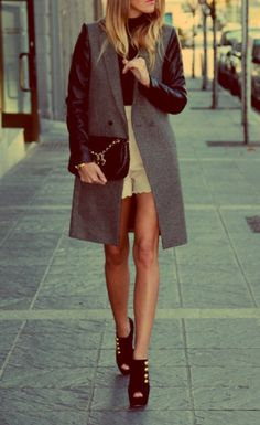 Leather sleeve trench coats.