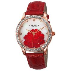 XXIV Women's Crystal Flower Strap Watch Akribos ($76) ❤ liked on Polyvore featuring jewelry, watches, white, women's watches, floral jewelry, akribos xxiv, white wrist watch, white dial watches и dial watches
