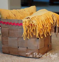 The Pinterest Project: Sewn Paper Bag Basket