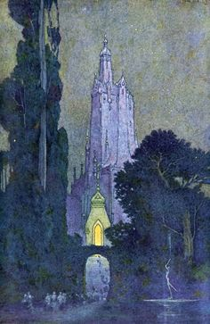 """earlyfrost: """" Illustration by Franklin Booth, 1913, for The Flying Islands of the Night by James Whitcomb Riley """""""