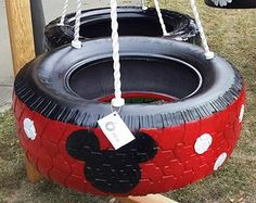 3-Legged Mickey Mouse Tire Swing - gasp!