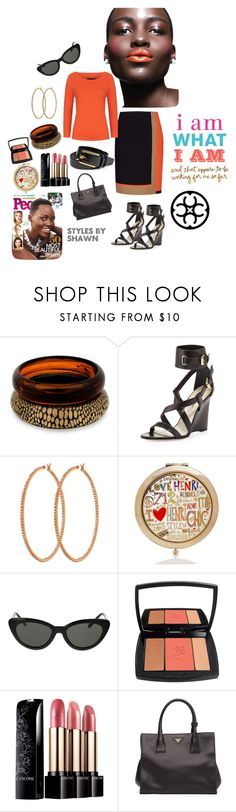 """""""I Am What I Am"""" by shawn-evans ❤ liked on Polyvore featuring Principles by Ben de Lisi, Brian Atwood, Per Se, Henri Bendel, American Apparel, Lancôme and Prada"""