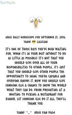 ♈ Aries Daily Horoscope for September 21, 2016