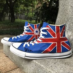 sale retailer 18416 72663 Hand Painted Shoes Design UK Flag Converse High Top Canvas Sneakers