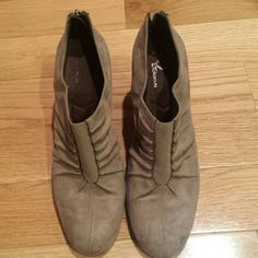 A2 by Aerosoles Suede Ankle Heel Boots Tan AEROSOLES Shoes Ankle Boots & Booties