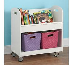 Kids Book Storage: White Kids Rolling Book Storage Shelf and Bin - clever storage for rooms that are always changing sizes with every military move!